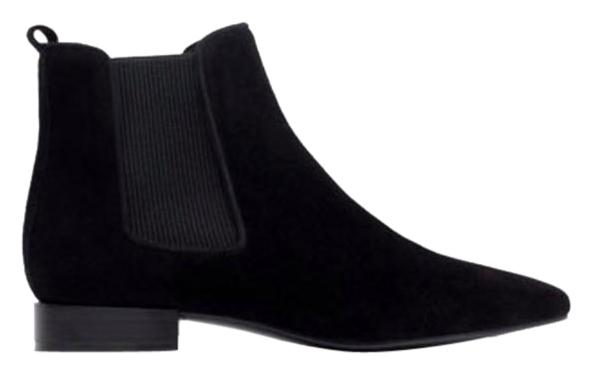 zara chelsea suede low flat ankle black boots boots