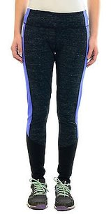 Zella Zella Dark Gray Black Full Length Workout Leggings Wroyal Blue Side Stripe