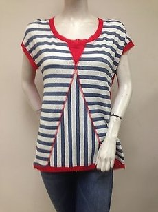 zoe&zac Zoe Blue Red Cap Sleeve Lace High Low Mesh Pm Striped Tee T Shirt White
