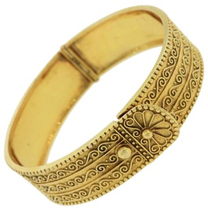 Zolotas Zolotas Etruscan Style 18k Yellow Gold Engraved Bangle Bracelet
